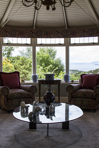 Duirinish Lodge, Plockton, living room, chairs and view